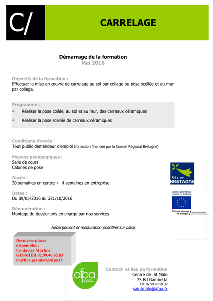 Cap emploi 22 formation carrelage for Carrelage formation